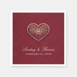 Maroon Red Gold & White Floral Heart Wedding Paper Napkin