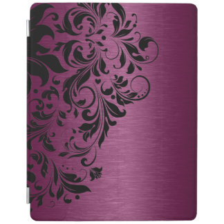 Maroon-Red Metallic Texture & Black Lace iPad Cover