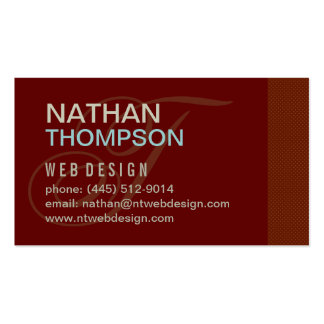 Maroon Red Simple with Initial -  Business Card