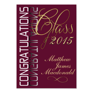 Maroon Reflection  Formal Graduation Party 5x7 Paper Invitation Card
