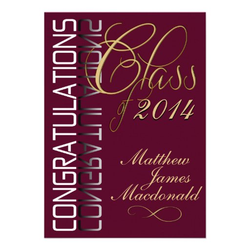 Maroon Reflection  Formal Graduation Party Custom Invite