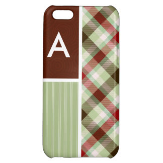 Maroon & Sage Green Plaid iPhone 5C Covers