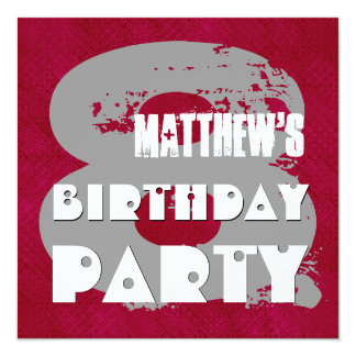 MAROON SILVER 8th Birthday Party 8 Year Old V11E 13 Cm X 13 Cm Square Invitation Card