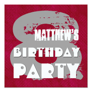 MAROON SILVER 8th Birthday Party 8 Year Old V11E Invitation