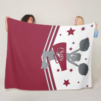 Maroon Silver Stars Cheer Cheer-leading Girls Fleece Blanket
