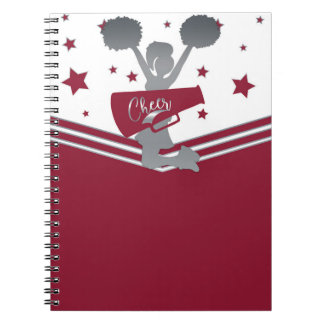Maroon Silver Stars Cheer Cheer-leading Notebook