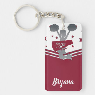 Maroon Silver Stars Cheer-leading Personalized Key Ring