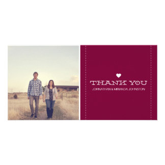 Maroon Simply Chic Photo Wedding Thank You Cards Personalized Photo Card