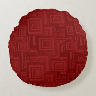 Maroon Squares Round Cushion