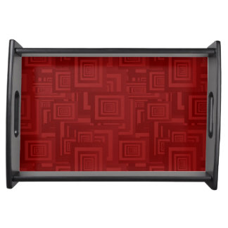 Maroon Squares Serving Tray
