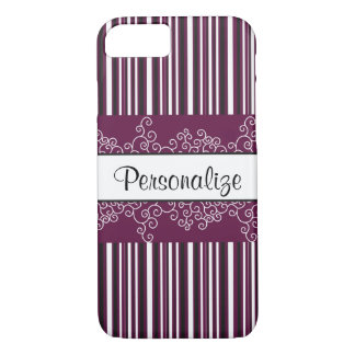 Maroon Stripes and Curls iPhone 8/7 Case
