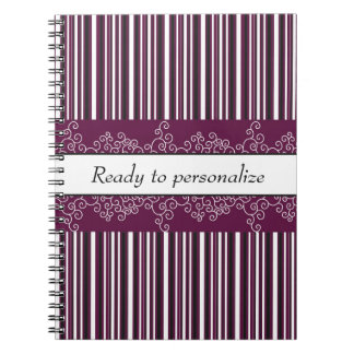 Maroon Stripes and Curls Notebook