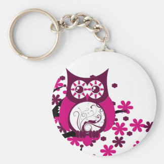Maroon Swirly Owl Windy Tree Key Ring