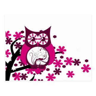 Maroon Swirly Owl Windy Tree Postcards