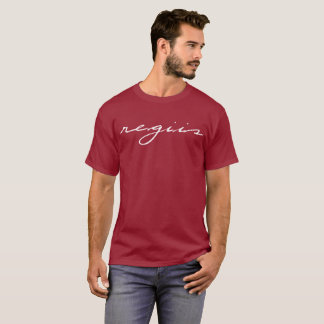 Maroon t-shirt with white Regiis design in cursive