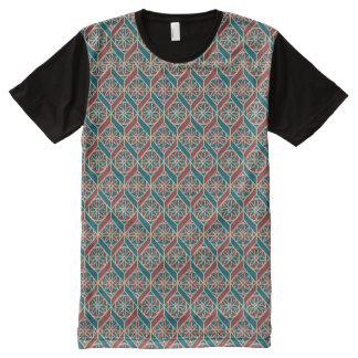 Maroon, Teal Ethnic Pattern, Flowers, Chevrons All-Over Print T-Shirt
