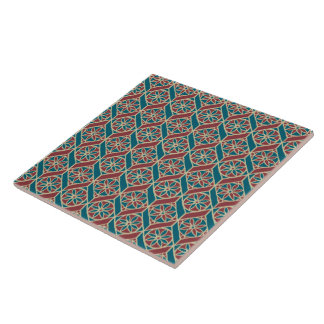 Maroon, Teal Ethnic Pattern, Flowers, Chevrons Ceramic Tile