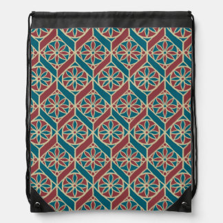 Maroon, Teal Ethnic Pattern, Flowers, Chevrons Drawstring Bag