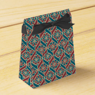 Maroon, Teal Ethnic Pattern, Flowers, Chevrons Favour Box