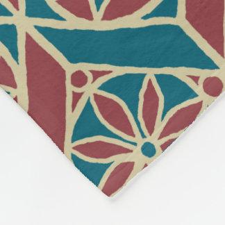 Maroon, Teal Ethnic Pattern, Flowers, Chevrons Fleece Blanket