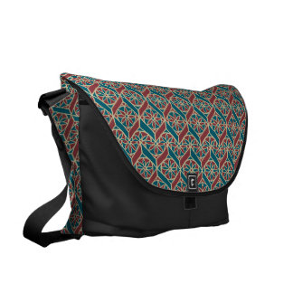 Maroon, Teal Ethnic Pattern, Flowers, Chevrons Messenger Bag