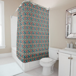 Maroon, Teal Ethnic Pattern, Flowers, Chevrons Shower Curtain