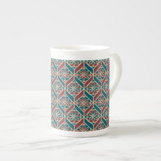 Maroon, Teal Ethnic Pattern, Flowers, Chevrons Tea Cup