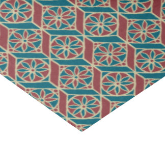 Maroon, Teal Ethnic Pattern, Flowers, Chevrons Tissue Paper