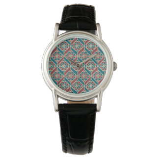Maroon, Teal Ethnic Pattern, Flowers, Chevrons Watch