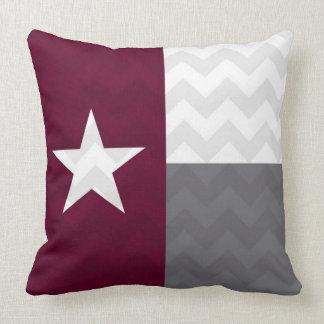 Maroon Texas Flag Chevron Cushion