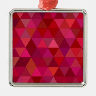 Maroon Triangles Metal Ornament