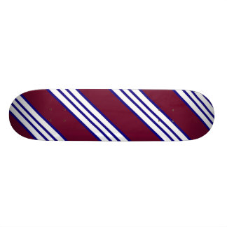 Maroon White and Blue Skateboard
