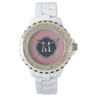 Maroon & White Greek Key Pattern Wrist Watches