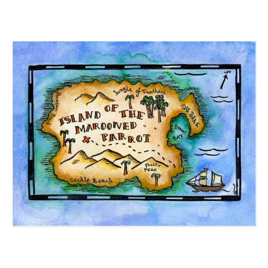 Marooned Parrot Treasure Map Postcards