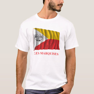 Marquesas Islands waving flag with name in French T-Shirt