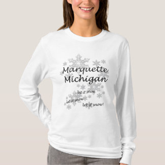 Marquette Michigan Snowflake Snow Ladies T-Shirt