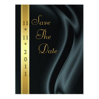 Marquis Black Silk Gold Save The Date Postcard