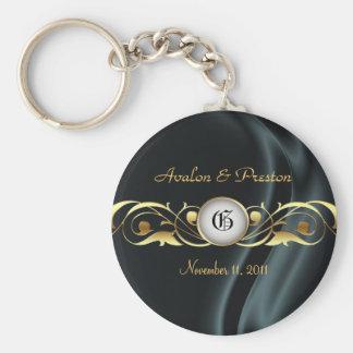 Marquis Black Silk Gold Scroll Pearl Keychain