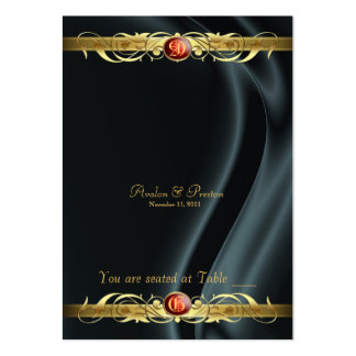Marquis Black Silk Gold Scroll Ruby Placecard Business Card