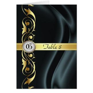 Marquis Black Silk Gold Scroll Table Card
