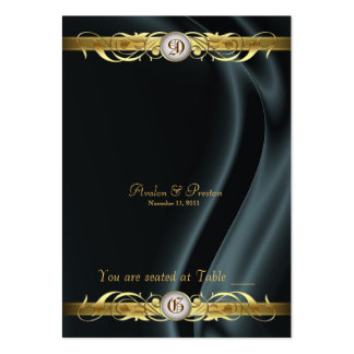 Marquis Black Silk Gold Scroll Table Placecard Business Card