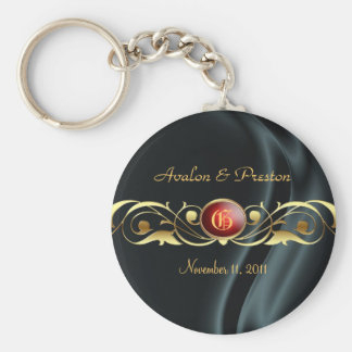 Marquis Black Silk Ruby Gold Scroll Pearl Keychain