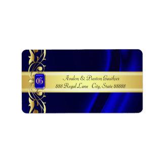 Marquis Blue & Gold Silk Address Labels