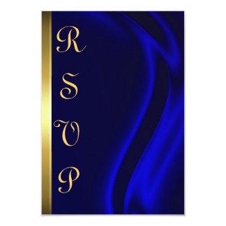 Marquis Blue Silk Gold RSVP Card 9 Cm X 13 Cm Invitation Card