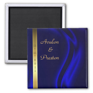 Marquis Blue Silk Gold Save The Date Magnet
