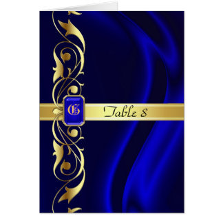 Marquis Blue Silk Gold Scroll Table Card