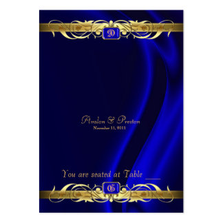 Marquis Blue Silk Gold Scroll Table Placecard Business Card