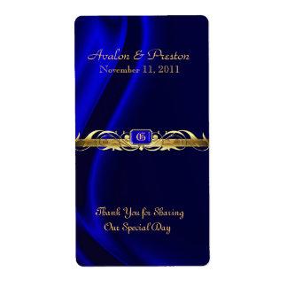 Marquis Blue Silk Gold Scroll Wine Wedding Label Shipping Label