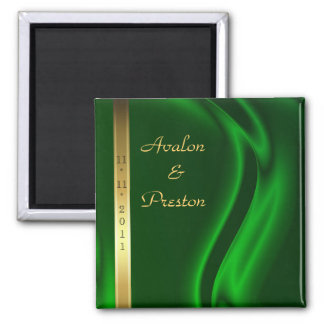 Marquis Green Silk Gold Save The Date Magnet