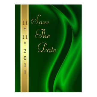 Marquis Green Silk Gold Save The Date Postcard